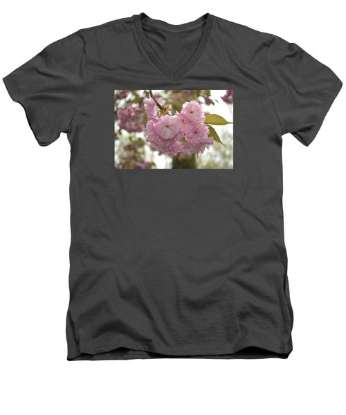 Men's V-Neck T-Shirt featuring the photograph Cherry Blossoms by Linda Geiger