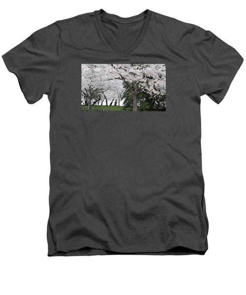Cherry Blossoms Washington Dc Men's V-Neck T-Shirt by Steve Archbold