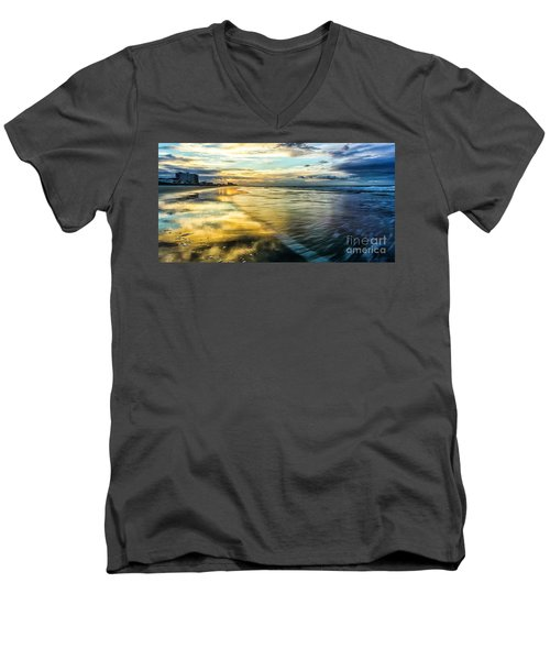 Cherry Grove Golden Shimmer Men's V-Neck T-Shirt by David Smith