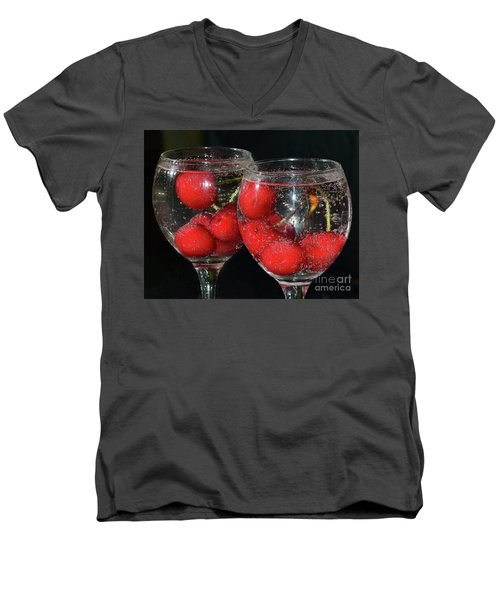 Men's V-Neck T-Shirt featuring the photograph Cherry In Glass by Elvira Ladocki