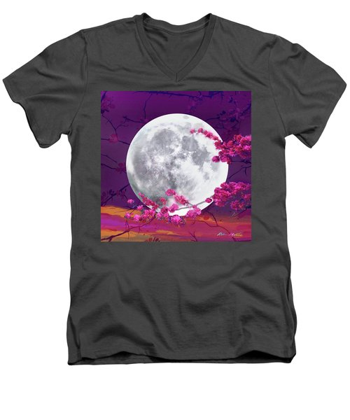 Cherry Moon  Men's V-Neck T-Shirt