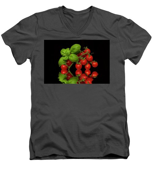 Men's V-Neck T-Shirt featuring the photograph Cherry Tomatoes And Basil by David French