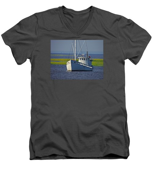 Men's V-Neck T-Shirt featuring the photograph Chesapeake Buy Boat by Laura Ragland