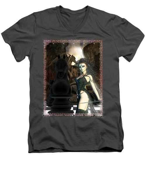 Chess 3d Fantasy Art Men's V-Neck T-Shirt by Sharon and Renee Lozen