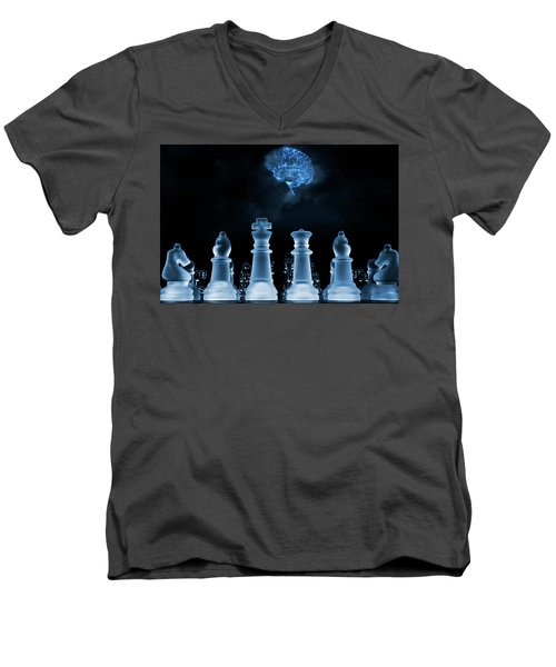 Chess Game And Human Brain Men's V-Neck T-Shirt