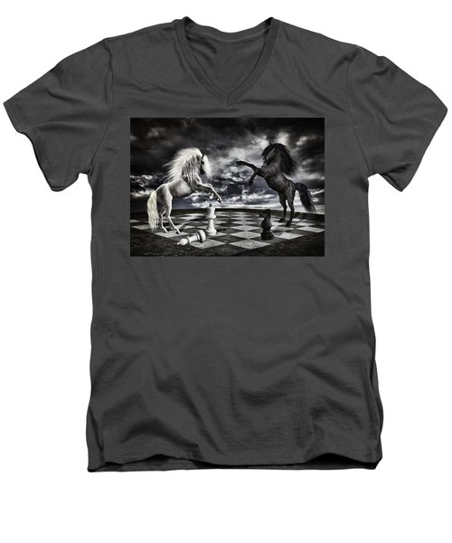 Chess Players Men's V-Neck T-Shirt by Mihaela Pater