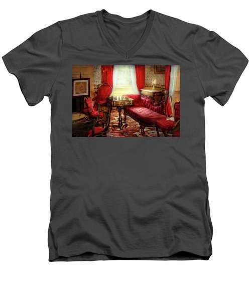 Men's V-Neck T-Shirt featuring the photograph Chess - The Elegance Of Chess by Mike Savad