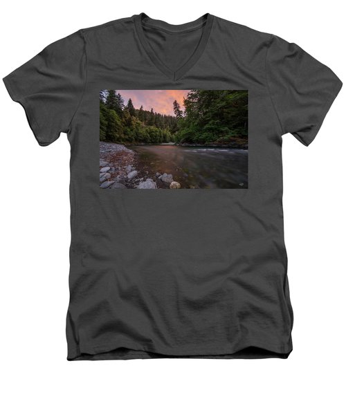 Men's V-Neck T-Shirt featuring the photograph Chetco River Sunset by Leland D Howard