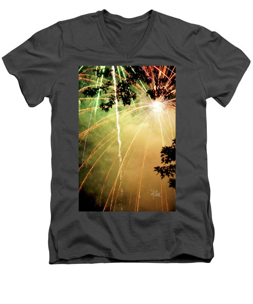 Men's V-Neck T-Shirt featuring the photograph Chetola Yellow Fireworks by Meta Gatschenberger
