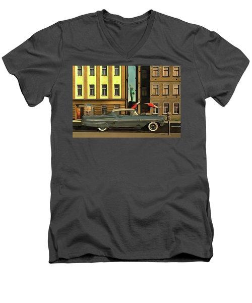 Chevrolette Impala At The Big Apple Men's V-Neck T-Shirt