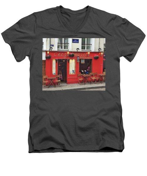 Chez Marie Restaurant, Montmartre, Paris Men's V-Neck T-Shirt