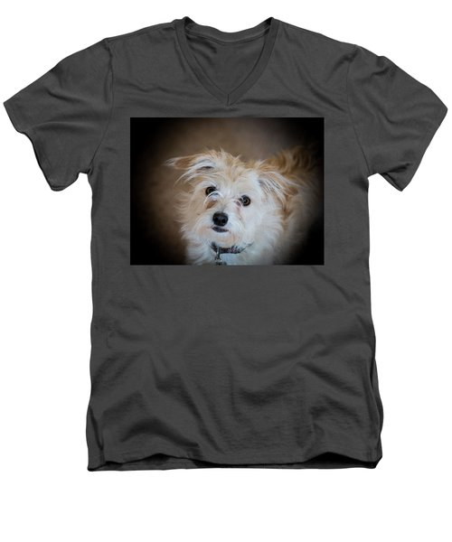 Chica On The Alert Men's V-Neck T-Shirt by E Faithe Lester