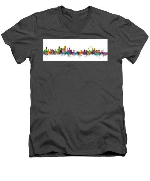 Chicago And St Louis Skyline Mashup Men's V-Neck T-Shirt by Michael Tompsett