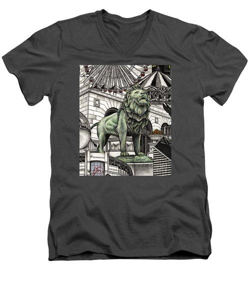 Chicago Art Institute Lion Men's V-Neck T-Shirt