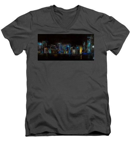 Chicago City Scene Men's V-Neck T-Shirt by Michele Carter