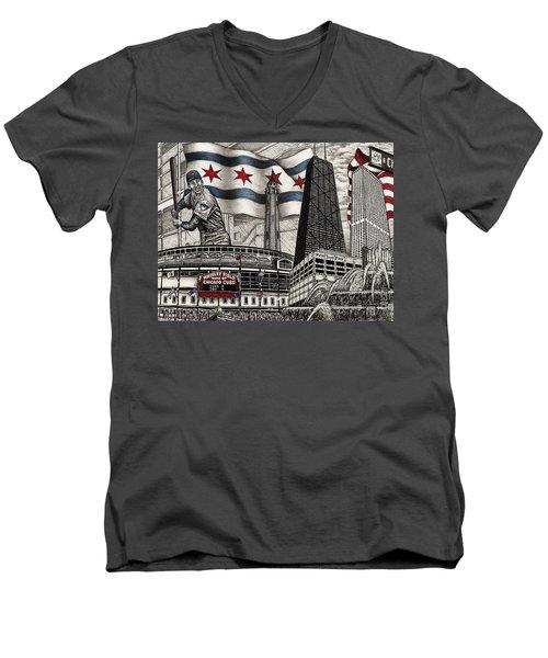 Chicago Cubs, Ernie Banks, Wrigley Field Men's V-Neck T-Shirt