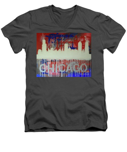 Men's V-Neck T-Shirt featuring the painting Chicago Drip by Melissa Goodrich