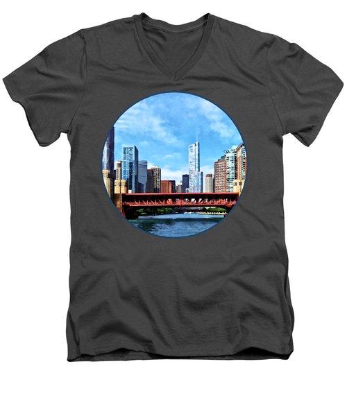 Chicago Il - Lake Shore Drive Bridge Men's V-Neck T-Shirt by Susan Savad