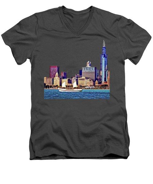 Chicago Il - Schooner Against Chicago Skyline Men's V-Neck T-Shirt