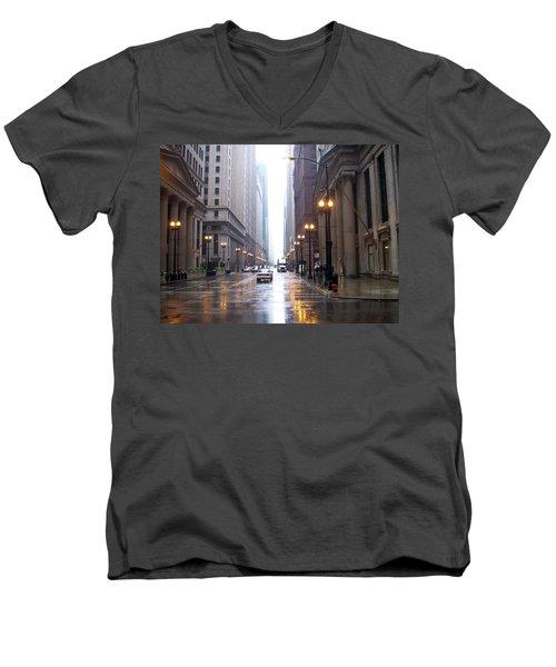 Chicago In The Rain Men's V-Neck T-Shirt