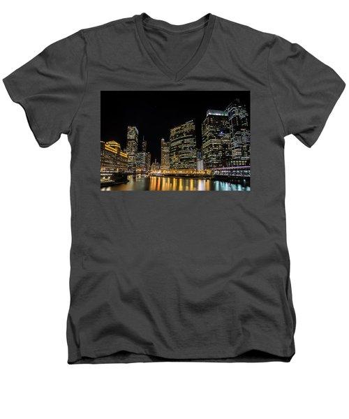 Chicago Night Skyline From Wolf Point Men's V-Neck T-Shirt