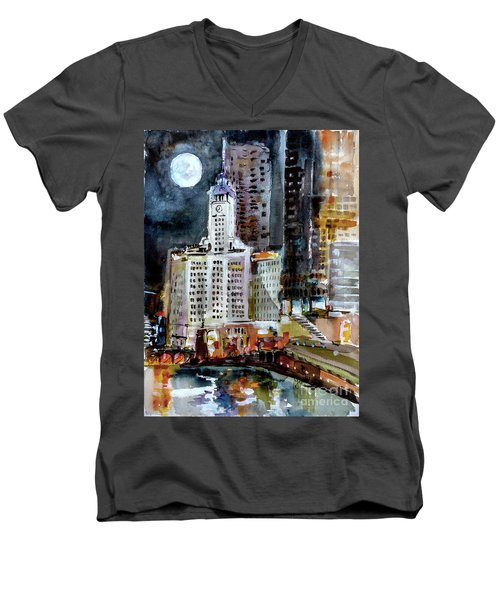 Chicago Night Wrigley Building Art Men's V-Neck T-Shirt