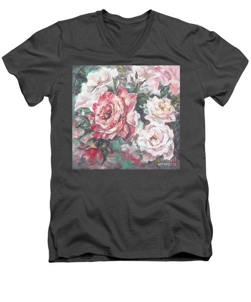 Men's V-Neck T-Shirt featuring the painting Chicago Peace And Seduction Roses by Ryn Shell