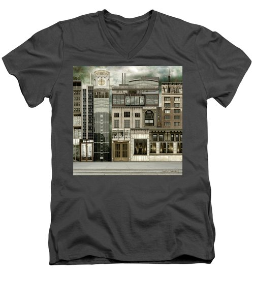 Chicago Reconstruction 2 Men's V-Neck T-Shirt by Joan Ladendorf