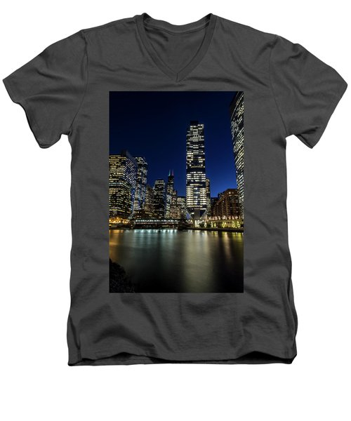 Chicago River And Skyline At Dusk  Men's V-Neck T-Shirt