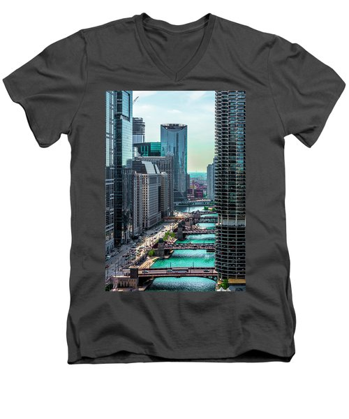 Chicago River From Londonhouse Chicago Dsc2290 Men's V-Neck T-Shirt by Raymond Kunst
