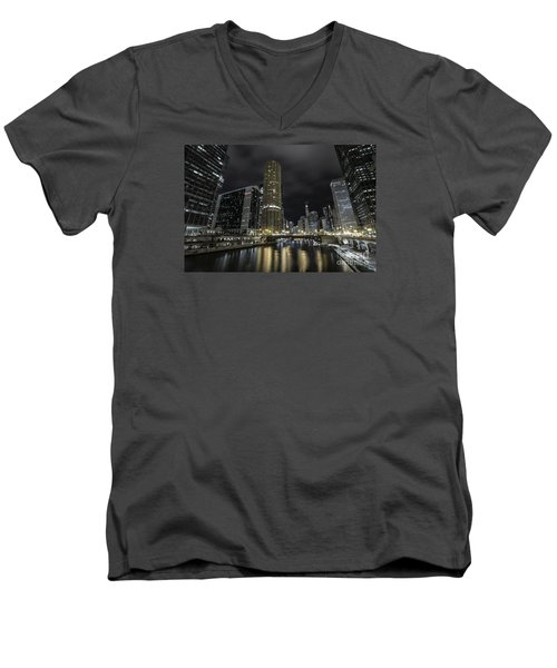 Men's V-Neck T-Shirt featuring the photograph Chicago Riverfront Skyline At Night by Keith Kapple