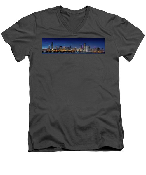 Men's V-Neck T-Shirt featuring the photograph Chicago Skyline After Sunset by Emmanuel Panagiotakis