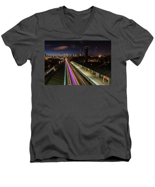 Chicago Skyline And Train Lights Men's V-Neck T-Shirt