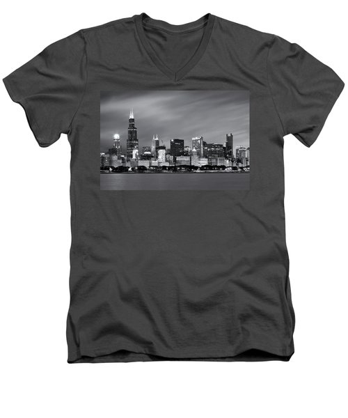 Men's V-Neck T-Shirt featuring the photograph Chicago Skyline At Night Black And White  by Adam Romanowicz