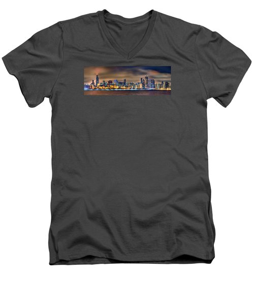 Chicago Skyline At Night Panorama Color 1 To 3 Ratio Men's V-Neck T-Shirt by Jon Holiday