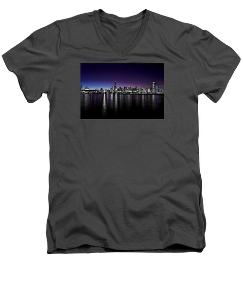 Men's V-Neck T-Shirt featuring the photograph Chicago Skyline Bnw With Blue-purple by Richard Zentner