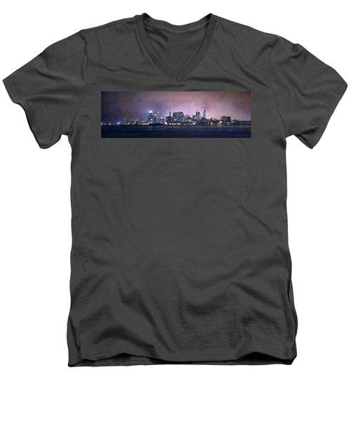 Chicago Skyline From Evanston Men's V-Neck T-Shirt by Scott Norris