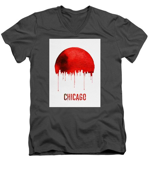 Chicago Skyline Red Men's V-Neck T-Shirt by Naxart Studio