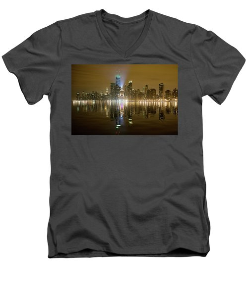 Men's V-Neck T-Shirt featuring the photograph Chicago Skyline With Lindbergh Beacon On Palmolive Building by Peter Ciro
