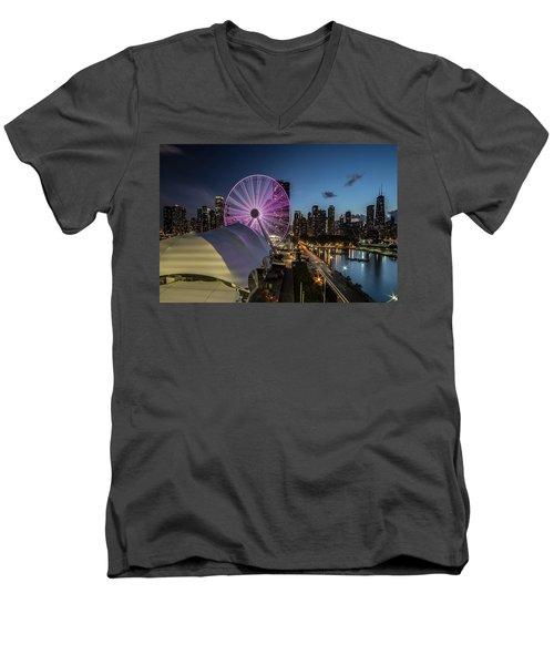 Chicago Skyline With New Ferris Wheel At Dusk Men's V-Neck T-Shirt