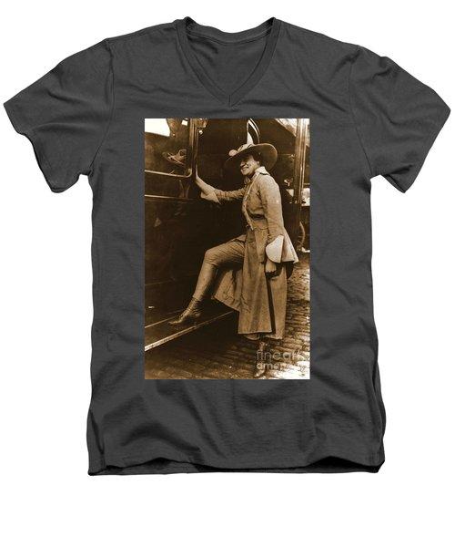 Chicago Suffragette Marching Costume Men's V-Neck T-Shirt by Padre Art