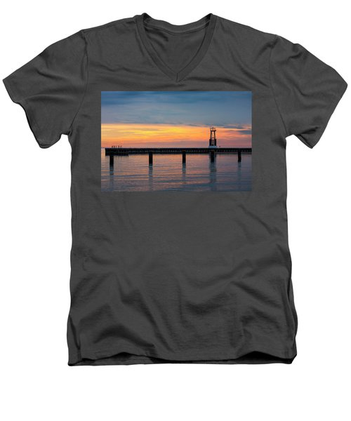 Men's V-Neck T-Shirt featuring the photograph Chicago Sunrise At North Ave. Beach by Adam Romanowicz
