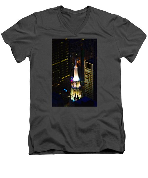 Men's V-Neck T-Shirt featuring the photograph Chicago Temple Building Steeple by Richard Zentner