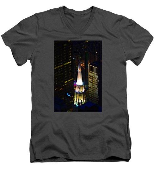 Chicago Temple Building Steeple Men's V-Neck T-Shirt