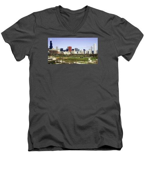 Chicago- The Windy City Men's V-Neck T-Shirt by Ricky L Jones