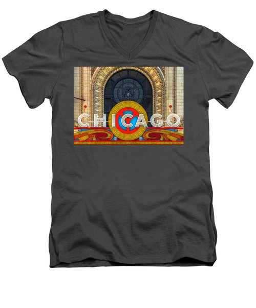 Chicago Theatre Sign Dsc2176 Men's V-Neck T-Shirt by Raymond Kunst