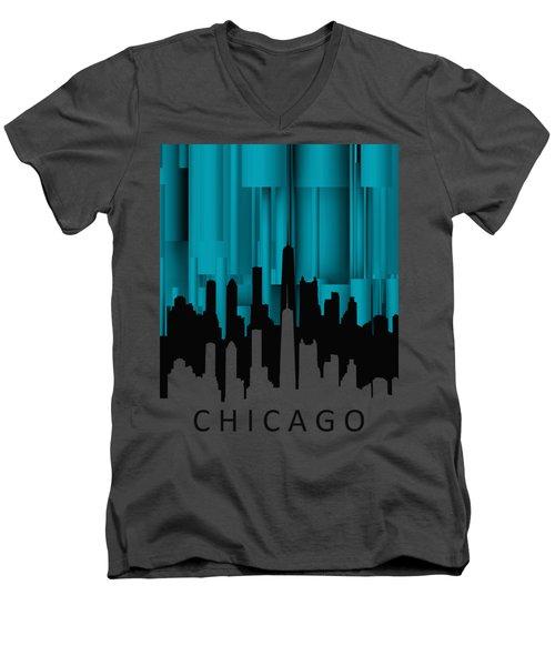 Chicago Turqoise Vertical Men's V-Neck T-Shirt