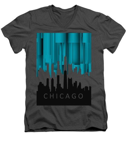 Chicago Turqoise Vertical In Negetive Men's V-Neck T-Shirt