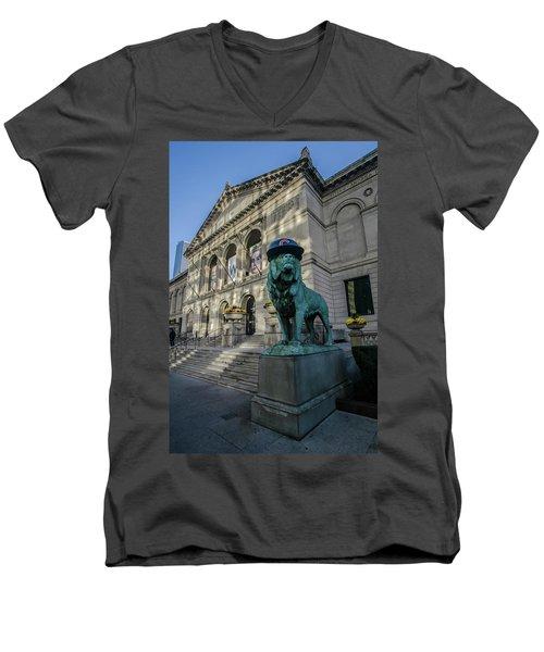 Chicago's Art Institute With Cubs Hat Men's V-Neck T-Shirt