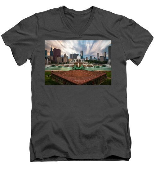 Chicago's Buckingham Fountain Men's V-Neck T-Shirt by Sean Foster